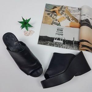 Shoes - Vintage Black Chunky Leather Platform Slides